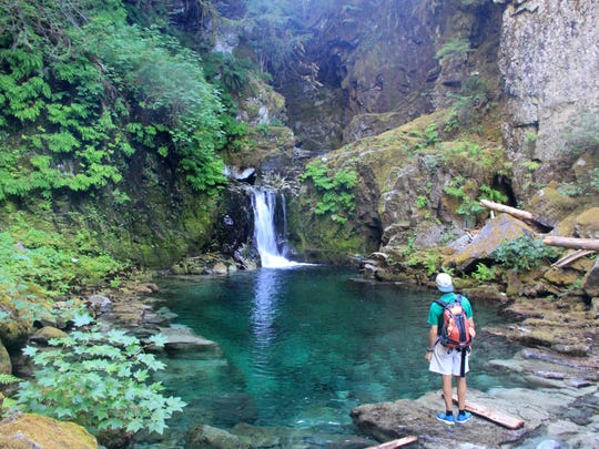 A waterfall and swimming hole on Opal Creek only reachable with some off trail hiking.