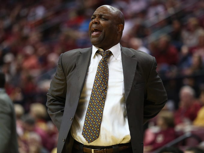 FSU's Leonard Hamilton yells out to the referees during
