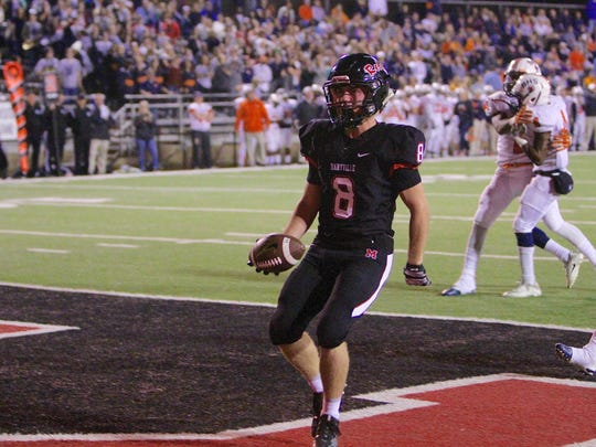 Maryville's Christian Markham scores a touchdown against Blackmon High School on Friday at Maryville High School.