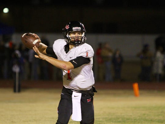 Maryville quarterback Dylan Hopkins looks to throw