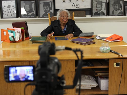 "Film interview for ""Threads of History: Conversations with a Community"" with Thelma Brown, secretary to the principle of Booker T. Washington High School."