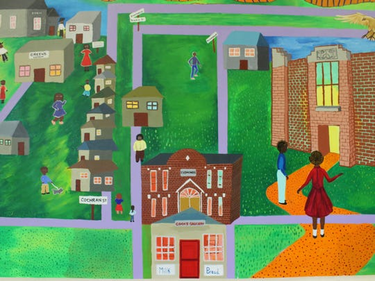 """Detail of a mural that is part of """"Threads of History: Conversations with a Community"""" and processed under the direction of Spencer Center Artist in Residence Claudia Bernardi. The mural was conceived and painted by Booker T. Washington High School alumni, their teachers and students at Mary Baldwin University. The mural hangs at Booker T. Washington Community Center in the Alumnae Museum. Students and alumni recorded stories to be added to the mural while filming the documentary."""