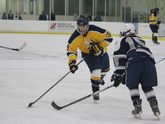 Corey Dawson (9) of Toms River North had two goals in the 7-5 win over Manasquan.