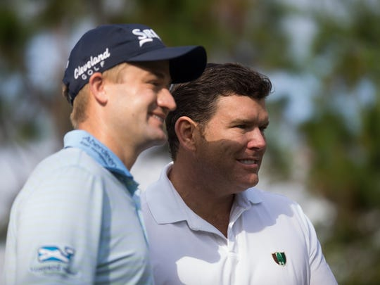 Fox News Channel's chief political anchor, Bret Baier, right, poses for a photo with PGA Tour Pro Russell Knox before teeing off at the Franklin Templeton Shootout Pro-Am at Tiburón Golf Club at The Ritz-Carlton Golf Resort on Wednesday, Dec. 7, 2016, in Naples.
