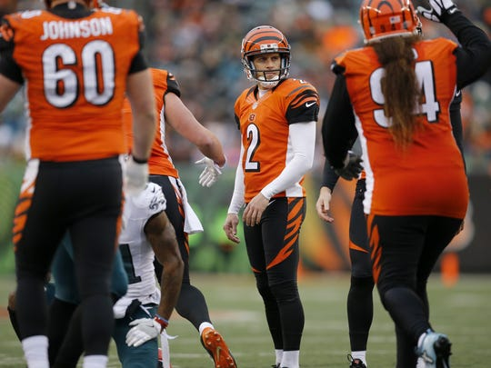 Cincinnati Bengals kicker Mike Nugent (2) stands by as his field goal attempt passes good through the uprights in the third quarter of the NFL Week 13 game between the Cincinnati Bengals and the Philadelphia Eagles at Paul Brown Stadium in downtown Cincinnati on Sunday, Dec. 4, 2016. The Bengals defeated the Eagles 32-14. The team's first win since Oct. 23 against the Browns.