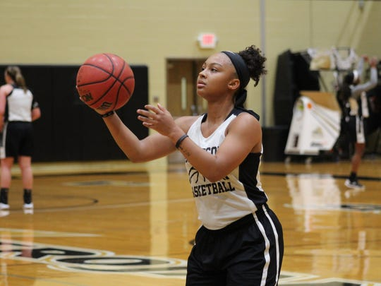 Anderson University sophomore guard Tamia Eatmon practices free throws at a recent practice at the Abney Center.