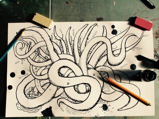 "Miscellaneous ""MeSseD"" art from the desk of illustrator Dylan Speeg."