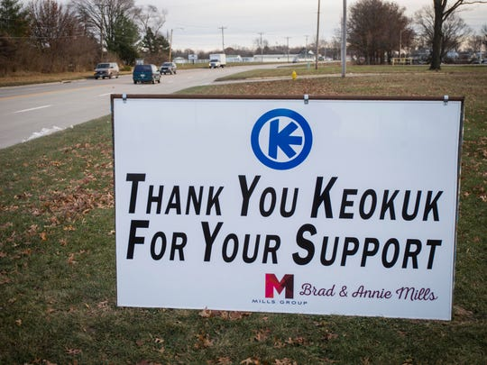 Sign outside Keokuk Steel Castings Company in Keokuk, Ia., on Tuesday, Dec. 13, 2016.
