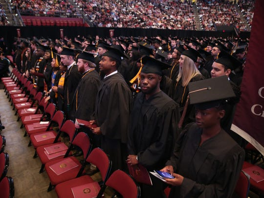 The increased threat of the COVID-19 virus has led to the cancellation of large, public graduation ceremonies such as this one at the Tucker Center. FSU will pay tribute to Spring 2020 graduates with an online tribute.