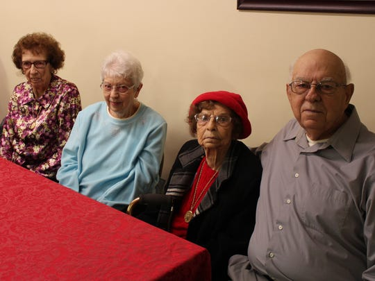 (From left to right) Florence Daiber, Joyce Brown, Mabel Kirby and Lloyd Daiber celebrate Lloyd's 90th birthday Sunday, Dec. 18, 2016. The siblings grew up in Bucyrus, and they all still live in Crawford County.