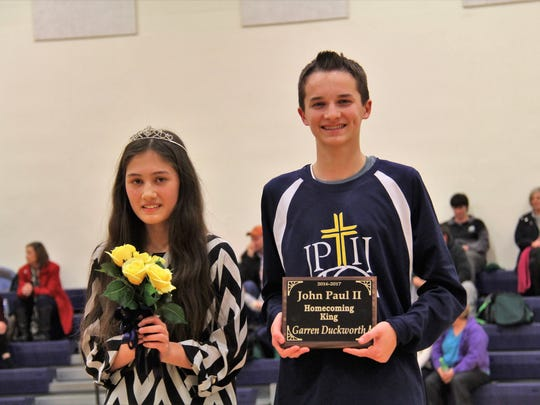John Paul II Catholic School recently held their homecoming at Knights Gym.  Eighth grade students Gretchen Greenwell and Garren Duckworth were crowned as the 2016 Queen and King.
