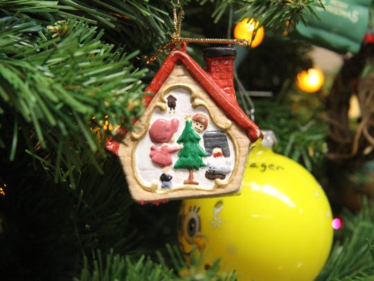 Various ornaments include handmade and store-bought