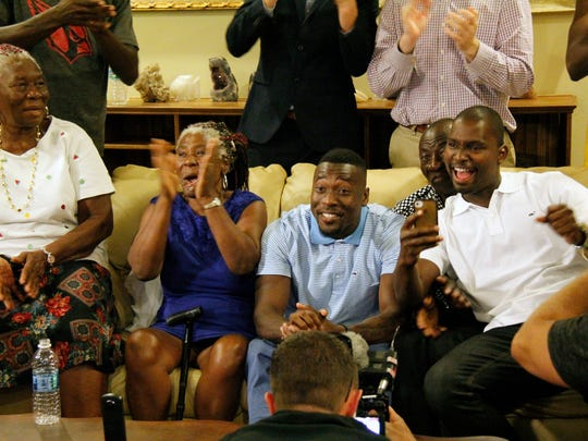 Former Immokalee High and Clemson cornerback Mackensie Alexander learns that he has been picked by the Minnesota Vikings during a watch party for the second night of the NFL draft at Knickerbocker Estate in Naples on Friday, April 29, 2016. (J. Scott Butherus/Staff)