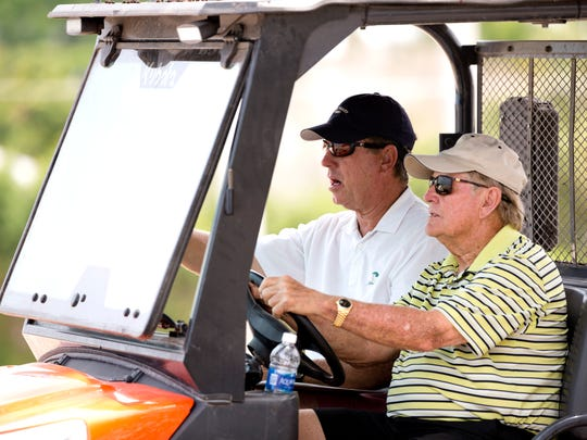 Legendary golfer and top course designer Jack Nicklaus, right, along with architect John Sanford, left, makes a site visit to The Naples Beach Hotel & Golf Club Monday in Naples. The course is undergoing complete renovation and should reopen in December of this year.
