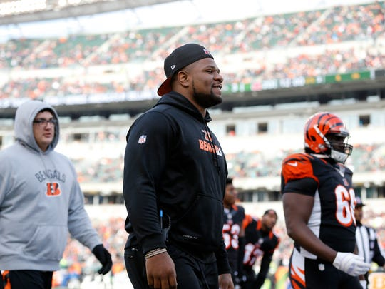 Cincinnati Bengals outside linebacker Vontaze Burfict (55) heads to the locker room in Week 17. He sat out due to a concussion.