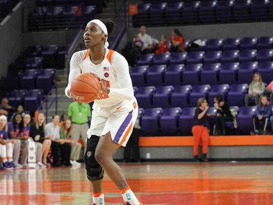 Clemson sophomore guard Aliyah Collier (12) shoots