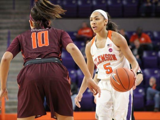Clemson sophomore guard Danielle Edwards (5) is defended