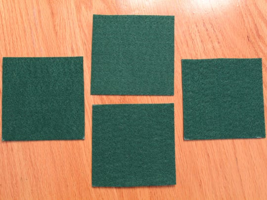 Cut felt into 4-by-4-inch squares.