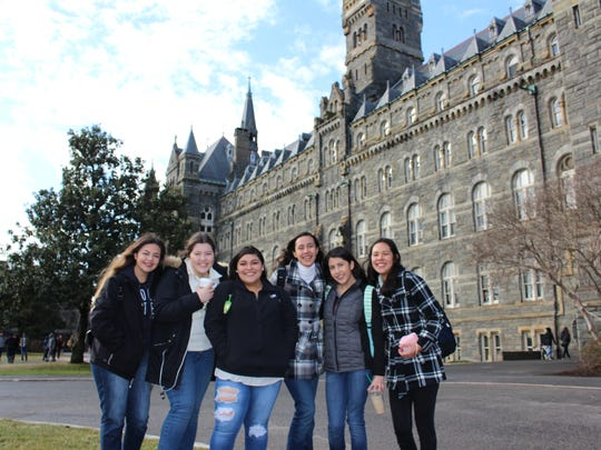 Pictures of some of the Dream Academy students in front of Georgetown University.