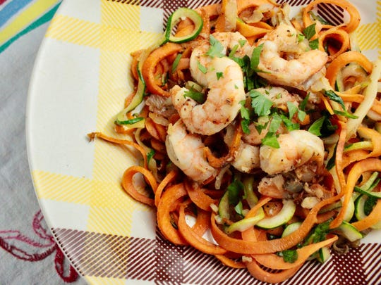 Sautéed Garlic Shrimp with Sweet Potato & Zucchini Noodles.
