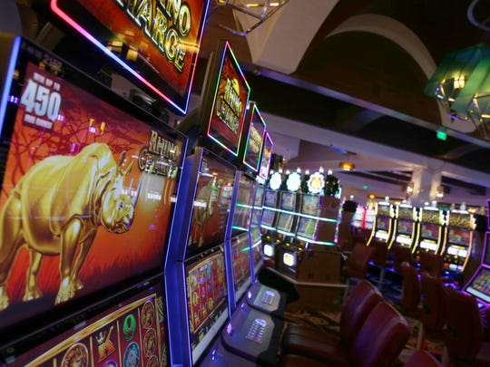 Some of the 2000 slot machines at the del Lago Resort