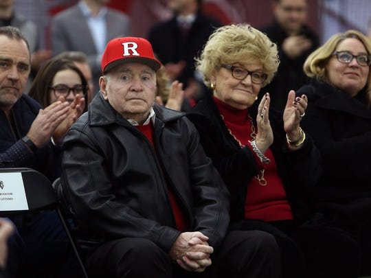 Rutgers legendary baseball head coach  Fred Hill with wife Evelyn in attendance as Rutgers dedicated its new indoor baseball and softball practice facility called the Fred Hill Training Complex. January 31, 2017, Piscataway,, NJ.