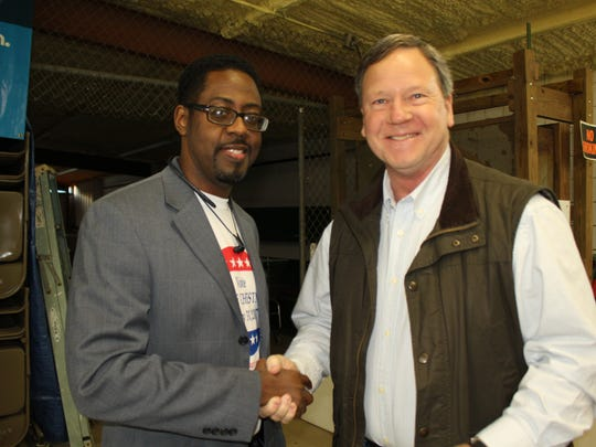 Selma businessman Tim Wood, right, greets future Legislator