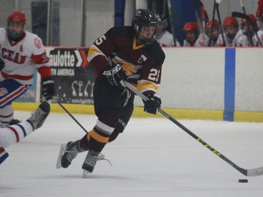 Michael Mania of Central Regional recorded his 200th career point on Thursday in a win over Ocean Township at the Jersey Shore Arena.