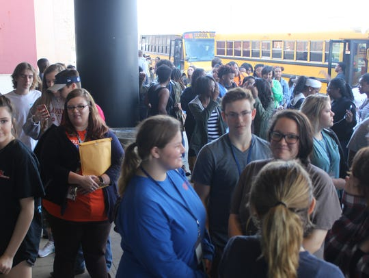Biotechnology Magnet Academy students wait to enter
