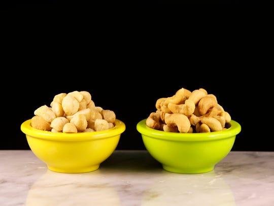 Macadamia nuts next to cashews on Feb. 7, 2017 in Scottsdale.