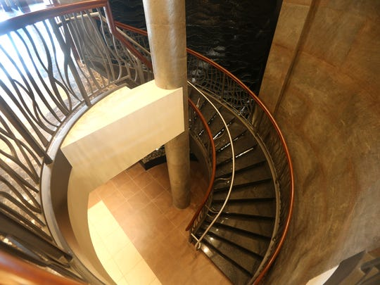 Residents and guests will find a spiral staircase and water wall in The Clubhouse at The Reserve.