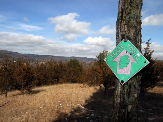A trail marker along one of the trails at the Great
