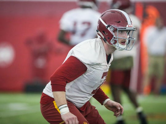Iowa State Joel Lanning runs drills during spring football practice Tuesday Feb. 28, 2017, at the Bergstrom Football Complex in Ames, Iowa.