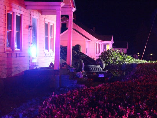 A car crashed into a home late Wednesday night on Lighthouse