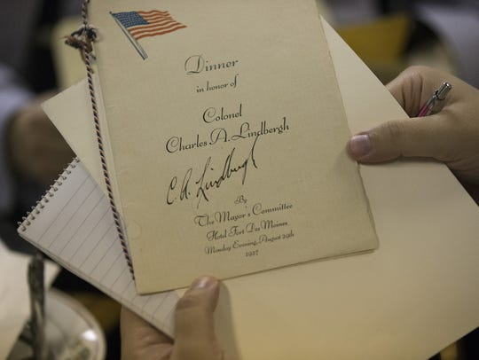 A program signed by Charles Lindbergh on display at