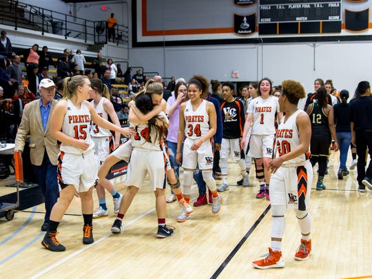 The Ventura College women's basketball team celebrates its 65-50 win over Los Angeles Valley on Saturday night, which qualified the Pirates for next week's CCCAA basketball championships at Las Positas College in Livermore.
