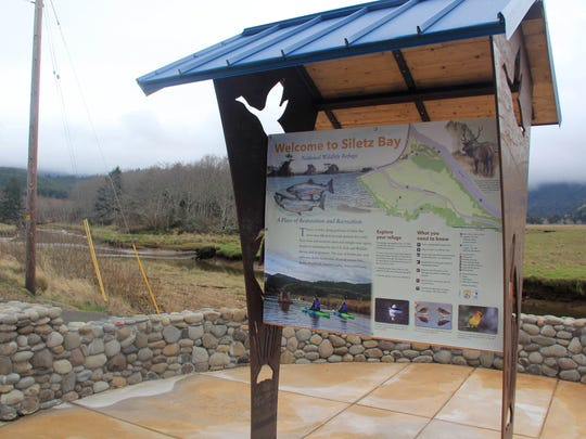 The trailhead for the Alder Island Nature Trail at
