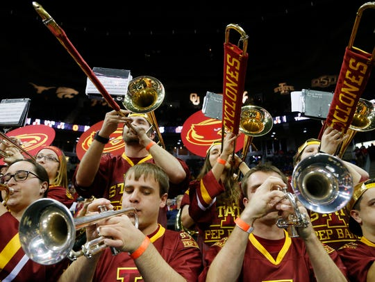 The Iowa State pep band performs Saturday, March 11,
