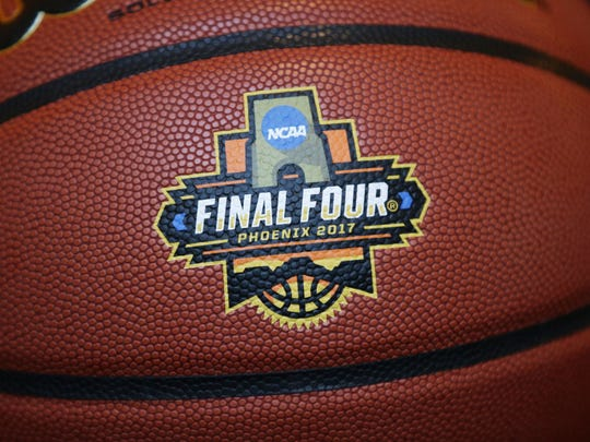 Final Four logo during a press conference on Jan. 25,