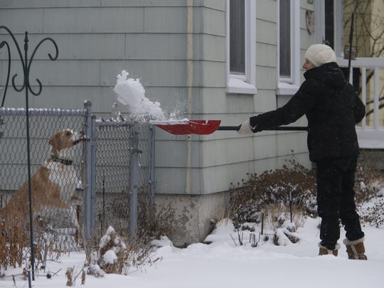 Anne Herber has fun with Buddy the dog as she shovels off her front walkway along Rhomberg Ave. in Dubuque, Iowa, Monday, March 13, 2017.
