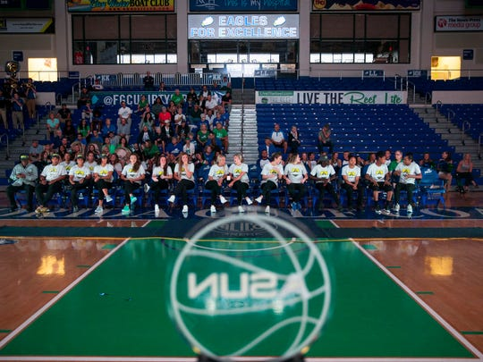 The FGCU women's basketball team and FGCU fans watch the NCAA tournament selection show on Monday, March 13, 2017 in Alico Arena. FGCU, a No. 13 seed, will play at No. 4 Miami on Saturday.