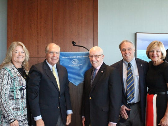 Boys & Girls Clubs of Marin County CEO Joanne Towner, Board President William F. Whitman Jr., former U.S. Attorney General Michael B. Mukasey, and Luncheon Co-Chairs Dr. Philip Schein and Carol Webb.
