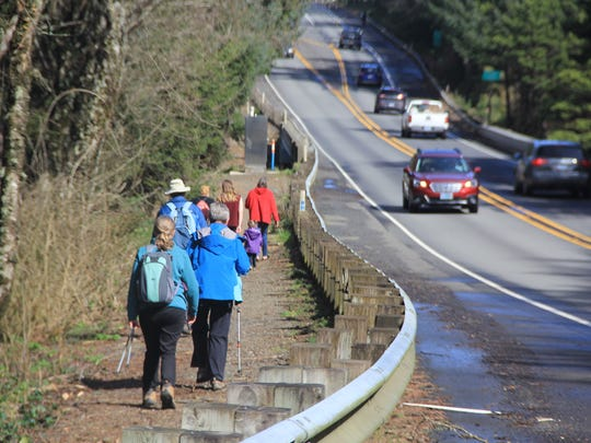 Connecting the Oregon Coast Trail can often mean just a trail on the side of the highway.