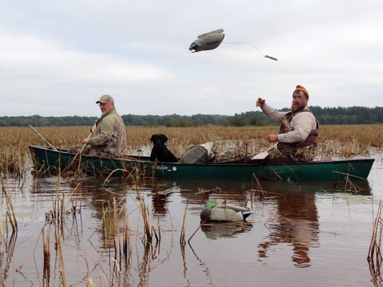 Ben Elfelt of Stacey, Minnesota, tosses a decoy while preparing for a duck hunt with Jim Bennett of New Richmond on opening day of the 2016 Wisconsin duck hunting season near Grantsburg. The men were joined by Bennett's dog Teal, a Labradinger.
