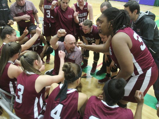 Ossining coach Dan Ricci apologized to his team after their loss to Baldwin in the girls Class AA state championship game at Hudson Valley Community College in Troy March 18, 2017. Ricci was tossed from the game for having two technical fouls.