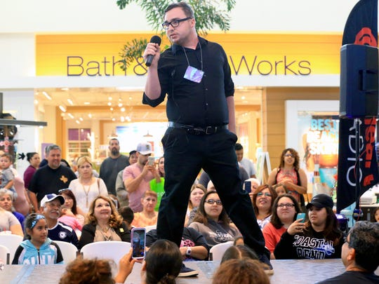 Brian Spurlock competes in the Selena Sing-Alike Contest on Tuesday, March 21, 2017, at La Palmera Mall in Corpus Christi.