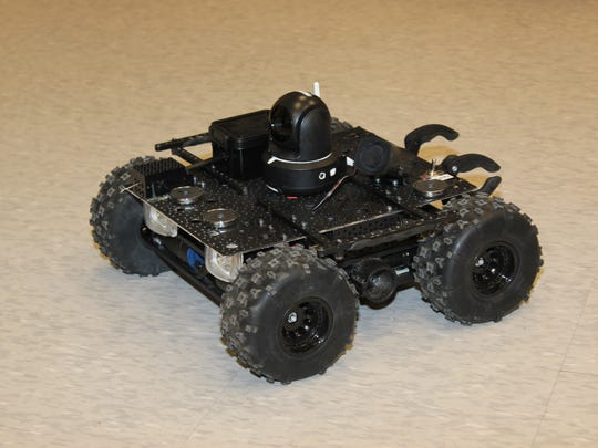 This SWAT robot was built by SCC's mechatronics engineering technology students and program coordinator and instructor Jim Falbo for the Macon County Sheriff's Office.