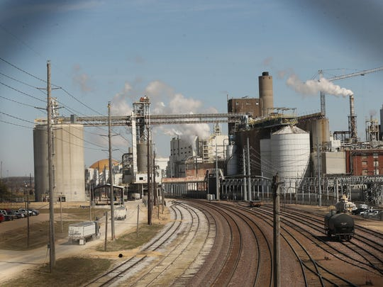 Major manufacturers such as Archer Daniels Midland (ADM) shown here Wednesday  March 22, 2017, and LyondellBasell loom like giants along Highway 30 heading into Clinton.