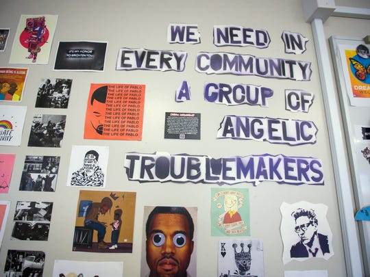 Images, poems, memes and more adorn the classroom walls of Urban Leadership at Central Campus in Des Moines, Iowa, Thursday March 23, 2017.
