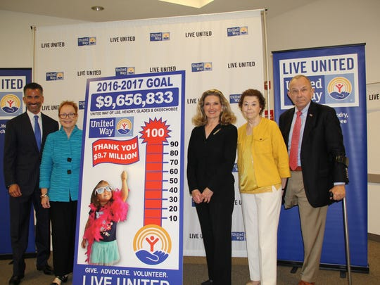 "Co-chairs for the United Way 2016-17 fundraising campaign, from left, Rob Wilson, Lou Pontius, Gay Thompson, Linda Uhler, Tom Uhler present the agency's collection ""thermometer"" showing the exceeded goal on Friday."